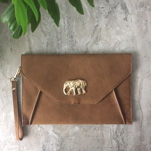Brown Faux Suede Clutch with Gold Elephant
